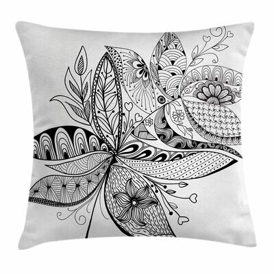 Ethnic Eastern Ornate Flower Square Pillow Cover Size: 24 x 24