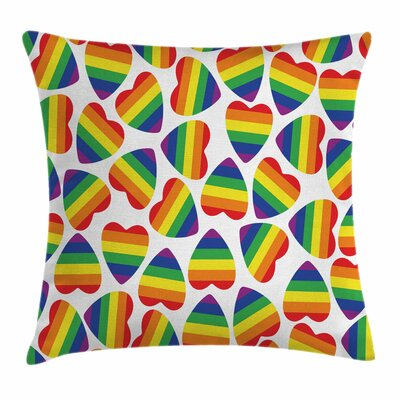 Cute Colorful Heart Square Pillow Cover Size: 18 x 18