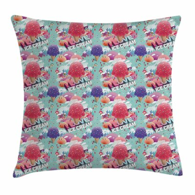 Ice Cream Dream Land Love Square Pillow Cover Size: 16 x 16