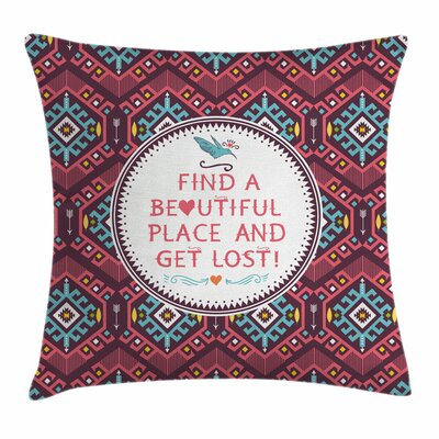 Native American Hipster Tribal Square Pillow Cover Size: 18 x 18