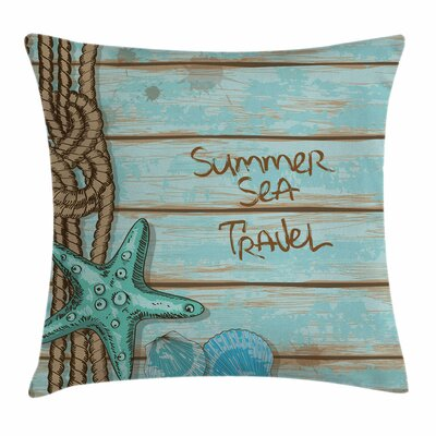 Starfish Decor Summer Travel Square Pillow Cover Size: 16 x 16