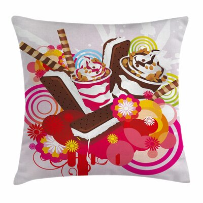 Ice Cream Flowers Deserts Square Pillow Cover Size: 16