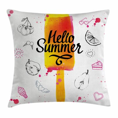 Ice Cream Hello Summer Square Pillow Cover Size: 16 x 16