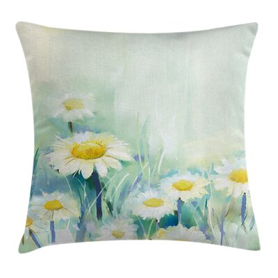 Daisy Flower Field Art Square Pillow Cover Size: 16 x 16