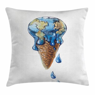 Ice Cream Planet Earth Square Pillow Cover Size: 24 x 24