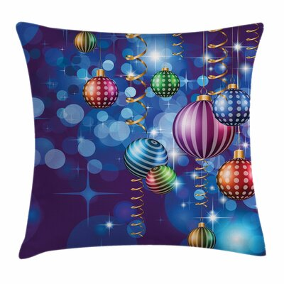 Christmas Happy New Year Party Square Pillow Cover Size: 16 x 16