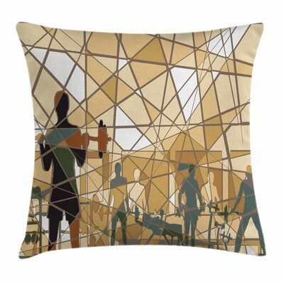 Fitness Mosaic People Square Pillow Cover Size: 16 x 16
