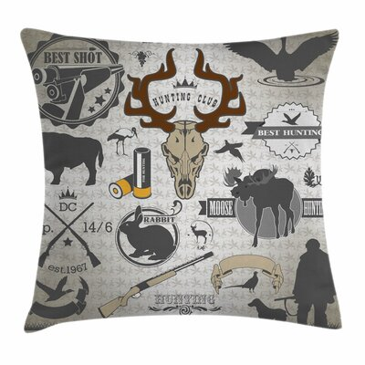Wildlife Labels Square Pillow Cover Size: 18 x 18