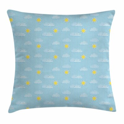 Cute Clouds and Sun Square Pillow Cover Size: 24 x 24