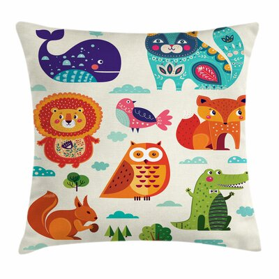 Zoo Ethnic Native Ornate Fun Square Pillow Cover Size: 20 x 20
