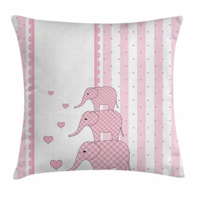 Elephant Animals Square Pillow Cover Size: 16 x 16