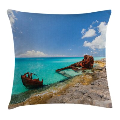 Nautical Ship Wreck on Beach Square Pillow Cover Size: 24 x 24