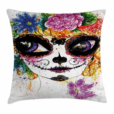 Sugar Skull Mexican Make Up Square Pillow Cover Size: 24 x 24