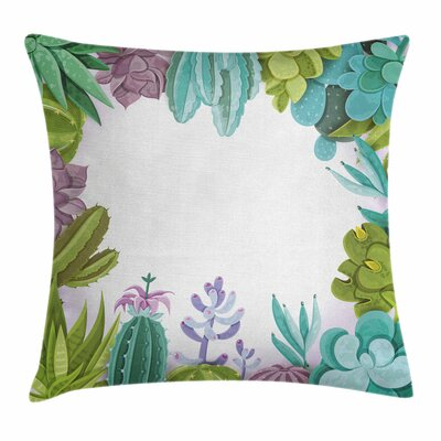 Cactus Succulents Frame Square Pillow Cover Size: 20 x 20
