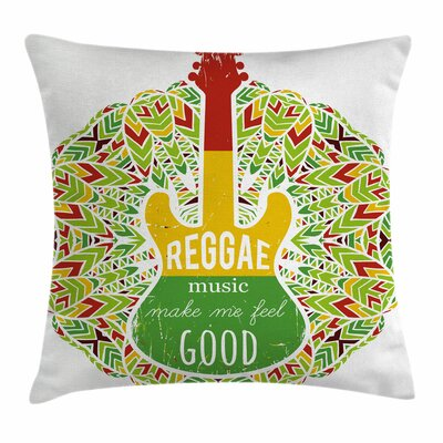 Rasta Reggae Music Icon Guitar Square Pillow Cover Size: 24 x 24
