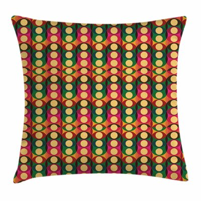 Retro Pop Art Geometric Pastel Square Pillow Cover Size: 16 x 16