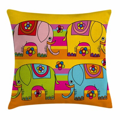 Elephant Funky Floral Square Pillow Cover Size: 18 x 18