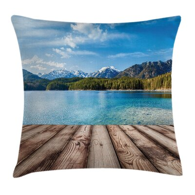 Nautical Lake Forest Mountain Square Pillow Cover Size: 24 x 24