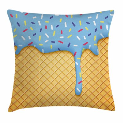 Ice Cream Sweet Waffle Square Pillow Cover Size: 24 x 24