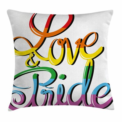 Love Text Rainbow Square Pillow Cover Size: 16 x 16