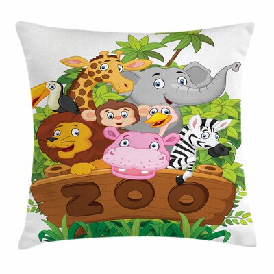 Zoo Happy Animals Fresh Trees Square Pillow Cover Size: 16 x 16