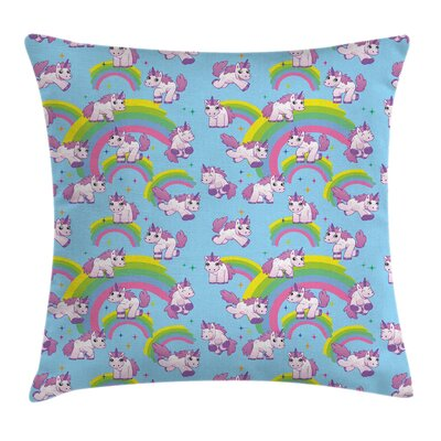 Unicorn Cute Cartoon Childish Square Pillow Cover Size: 18
