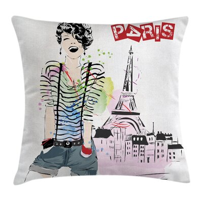 Eiffel Tower Decor Happiness Square Pillow Cover Size: 18 x 18