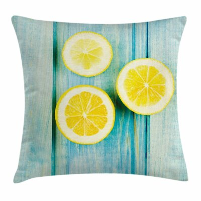 Juicy Slices Wooden Plank Square Pillow Cover Size: 16 x 16