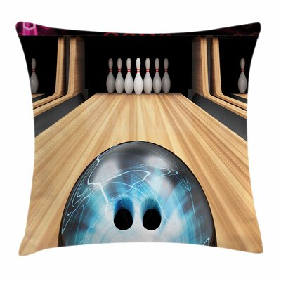Bowling Ball on Wooden Lane Square Pillow Cover Size: 16 x 16