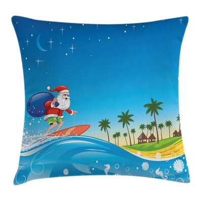 Christmas Surfing Santa Beach Square Pillow Cover Size: 18 x 18