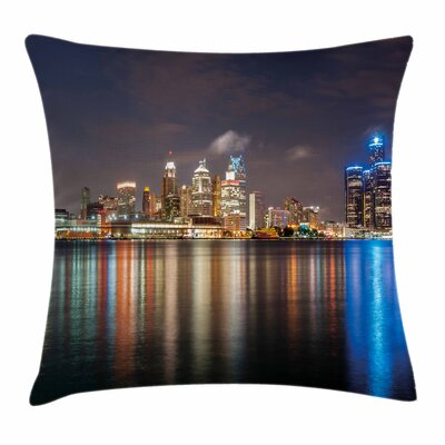 Detroit Decor Night Cityscape Square Pillow Cover Size: 20 x 20