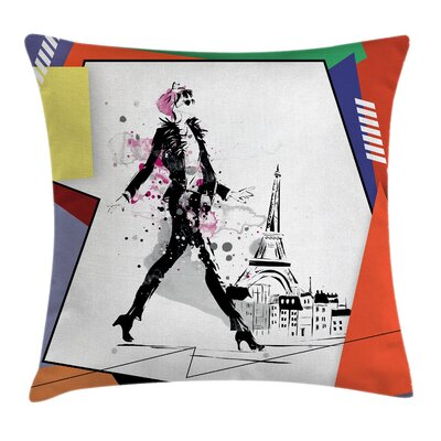 Eiffel Tower Walking Girl Art Square Pillow Cover Size: 18 x 18