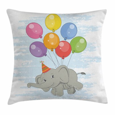 Elephant Flying Mammal Square Pillow Cover Size: 16 x 16