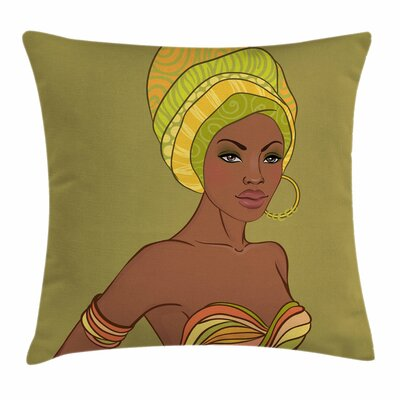 African Woman Sexy Fashion Lady Square Pillow Cover Size: 24 x 24