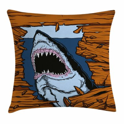 Shark Wild Fish Wooden Plank Square Pillow Cover Size: 18 x 18