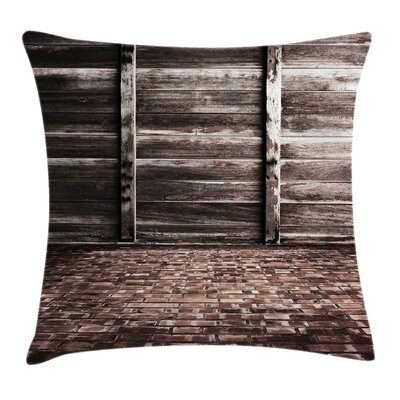 Rustic Brick Floor Wooden Wall Square Pillow Cover Size: 16 x 16