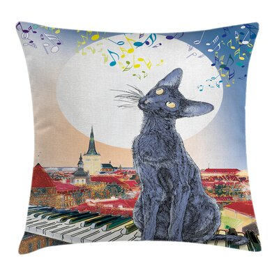 Cat on Rooftop Sunset Music Square Pillow Cover Size: 16 x 16
