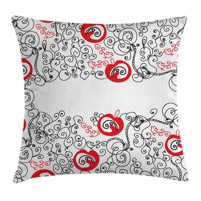 Sketchy Birds Swirls Square Pillow Cover Size: 16 x 16