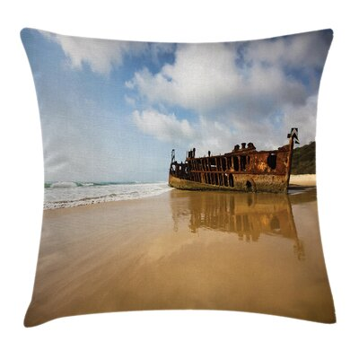Beach Antique Rusty Ship Wreck Square Pillow Cover Size: 24 x 24