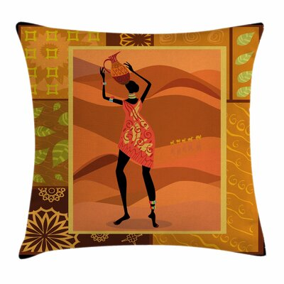 African Woman Native Zulu Girl Square Pillow Cover Size: 24 x 24