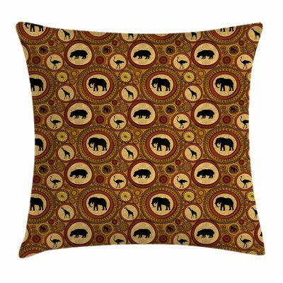 African Ethnic Animals Square Pillow Cover Size: 18