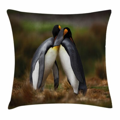 Penguin Couple Cuddling Square Pillow Cover Size: 16 x 16