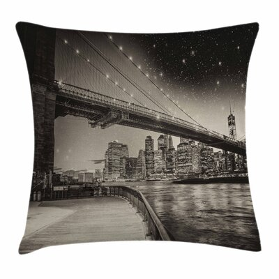 New York Brooklyn Bridge Night Square Pillow Cover Size: 16 x 16