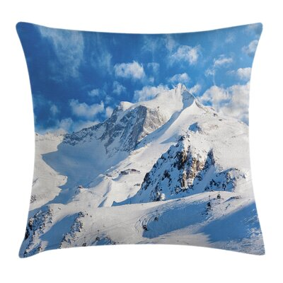 Winter Snowy Mountain Ski Square Pillow Cover Size: 16 x 16