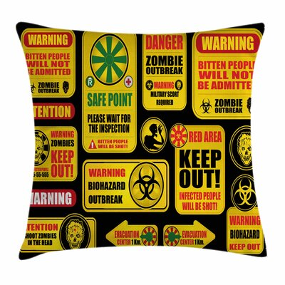 Zombie Decor Apocalypse Signs Square Pillow Cover Size: 20 x 20
