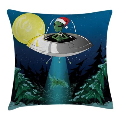 Cartoon Alien Christmas Art Square Pillow Cover Size: 18