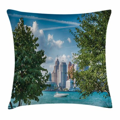 Detroit Decor Summer Afternoon Square Pillow Cover Size: 16 x 16