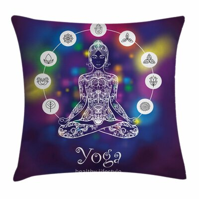 Yoga Crossed Legged Meditation Square Pillow Cover Size: 18 x 18