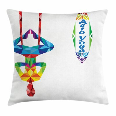 Yoga Aerial Yoga Fractal Body Square Pillow Cover Size: 16 x 16