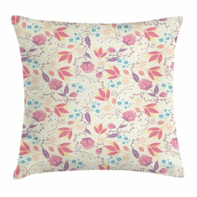 Pastel Fresh Cute Spring Field Square Pillow Cover Size: 24 x 24